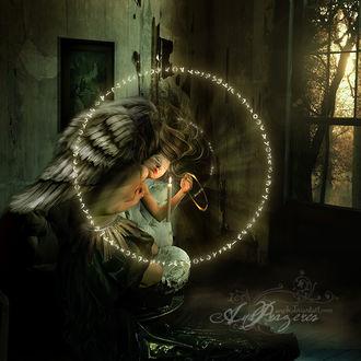 Фото Девушка ангел в кругу магий