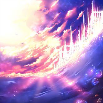 Фото Волшебный замок в облачном небе