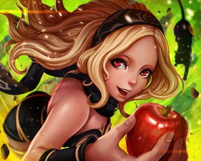 Фото Девочка с яблоком в руке