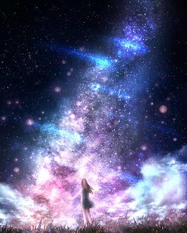 Фото Девушка стоит в траве на фоне ночного неба и млечного пути, by CZY