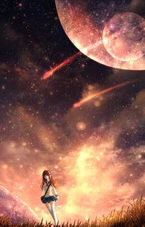 Фото Девушка в наушниках стоит в траве на фоне ночного неба, в котором видны планеты, by CZY