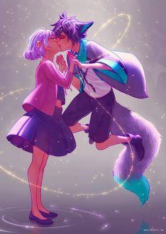 Фото Парень с ушками и длинным хвостом целует девушку, by whispwill