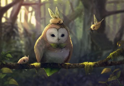 Фото Сова сидит на ветке дерева с волшебными птичками, by yhoukka