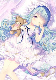 Фото Девочка голубыми волосами спросонок протирает глаза, обнимая мишку, в постели, art by Wasabi