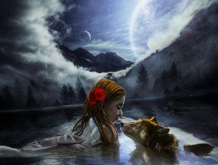 Фото Девочка с красными розами в волосах плавает в воде с любимым другом собакой, by Antoshines