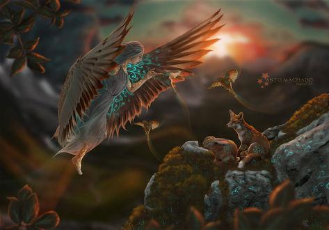 Фото Девушка с крыльями птицы парит над горой, на которой сидят заяц и лиса