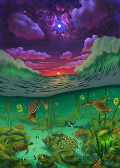 Фото Шторм на поверхности моря, тишина и покой под водой, by PedroDeElizald