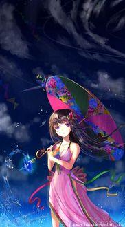 Фото Девушка с раскрытым китайским зонтиком стоит под дождевым небом, by veravik, by Ponchiux