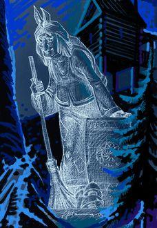 Фото Белый силуэт Бабы-Яги в ступе и с метлой, на фоне леса и избушки, by Виктор Пичуев