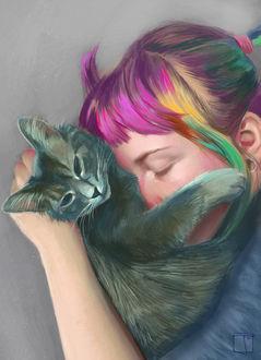 Фото Девушка с разноцветными волосами прижала к лицу любимую свою кошку, Alanna by SuperPhazed