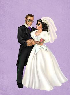 Фото Парень в черном костюме и очках и девушка в свадебном платье обнимаются и смотрят друг на друга, by JuneJenssen