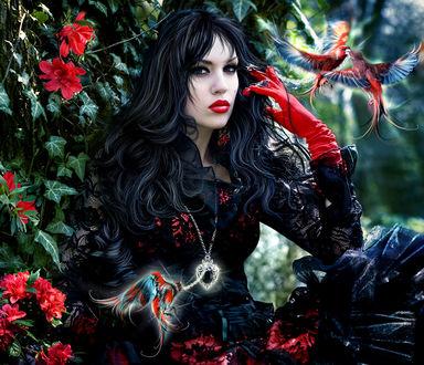 Фото Жгучая брюнетка валькирия в красных перчатках, с украшением на шее, с ярко накрашенными губами, сидит возле растений с красными цветами, возле нее порхают райские птички, by Katarina Sokolova-Latans'ka