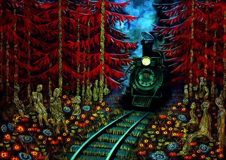 Фото Паровоз едет через лес, по обе стороны пути за ним наблюдают призраки, by Zhanna Bolshakova