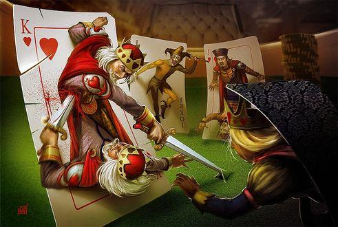 Фото Персонажи игральных карт сражаются между собой на игральном столе, by Francois Miville Deschenes