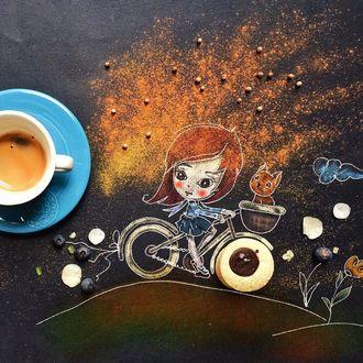 Фото Девочка едет с котом на велосипеде, by Cinzia Bolognesi