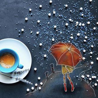 Фото Девочка под зонтом идет по тропинке, by Cinzia Bolognesi