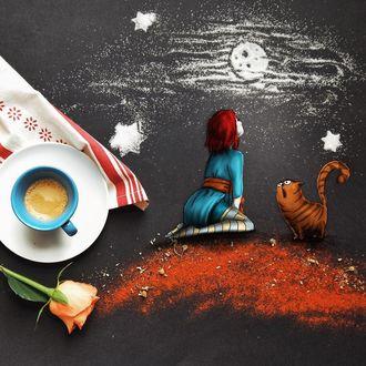 Фото Девочка с котом смотрят на луну и звезды, by Cinzia Bolognesi