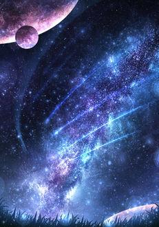 Фото Млечный путь, падающие звезды и планеты в ночном небе, by CZY