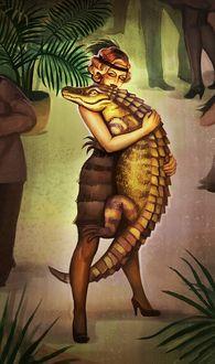 Фото Девушка держит на руках крокодила, by Olga-Zuievich