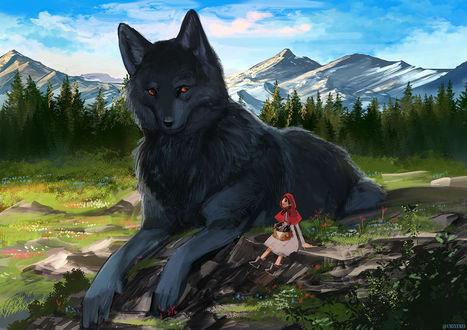 Фото Красная шапочка и огромный черный волк, by もの久保