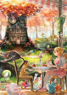 Фото Alice / Алиса пьет чай с кроликом из сказки Alice in Wonderland / Алиса в стране чудес
