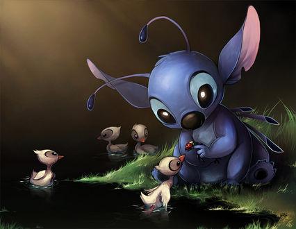 Фото Стич / Stitch показывает утенку, плавающему в воде, божью коровку, персонаж из мультфильма Lilo & Stitch / Лило и Стич