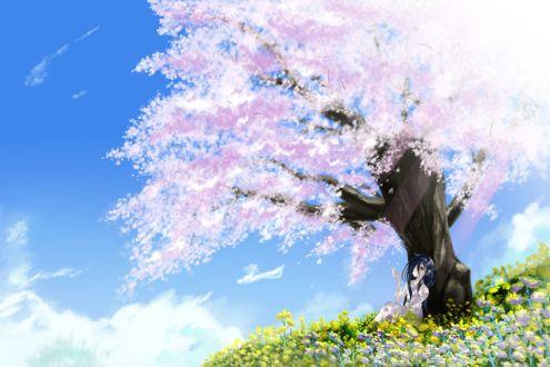 Фото Персонаж Sadako Yamamura сидит у весеннего дерева, автор azumawari
