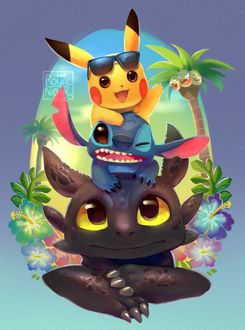 Фото Ночная Фурия (Беззубик) / Night Fury (Toothless), Стич / Stich и Пикачу / Pikachu, by RoyalNoir