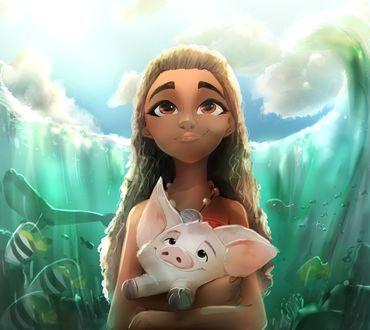 Фото Моана Ваялики / Moana Waialiki и поросенок Пуа / Pua из мультфильма Моана / Moana, by ChaseFox