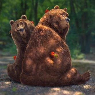 Фото Два медведя с яблоками на них, автор Aaron Blaise