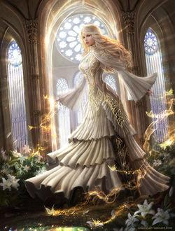 Девушка в длинном платье стоит среди белых лилий, by Solaice