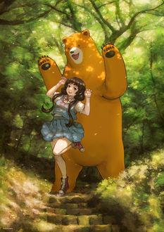 Фото Мачи Амаядори / Machi Amayadori и медведь Нацу Кумай / Natsu Kumai из аниме Жрица и медведь / Kuma Miko
