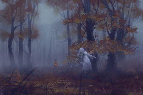 Фото Призрак девушки в осеннем лесу, арт по игре Knock-knock / Тук-тук-тук, by Shaidis