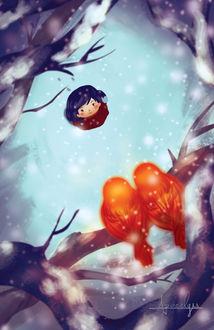 Фото Девочка смотрит на птиц сидящих на ветке дерева, by Apocalyss