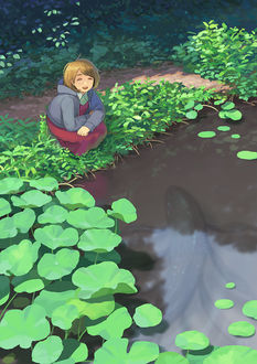 Фото Девочка сидит на берегу пруда, в котором плавает огромная черная рыба, by hiko