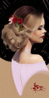 Фото Белокурая девушка в профиль с цветами в прическе, by FUNKYMONKEY1945