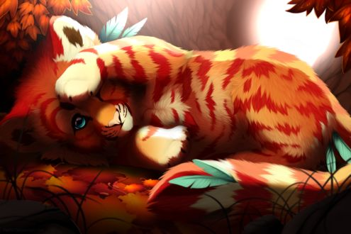 Фото Тигренок прикрыл лапкой мордочку, лежа на осенних листьях, by Yechii