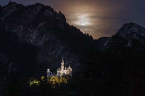 Фото Замок Neuschwanstein / Нойшванштайн - романтический замок баварского короля Людвига II у подножия гор, фотограф Michael Boehmlaender