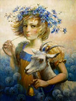 Фото Девочка с козленком и в венке на голове, художник Римма Вьюгина