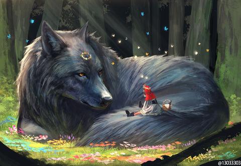 Фото Красная Шапочка сидит на хвосте у огромного волка, лежащего на цветочной поляне в лесу, by Ariduka