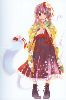 Фото Hieda no Akyuu / Хиеда но Акю со свитком в кимоно и ботинках из игры Проект Восток / Touhou Project, art by Shinobu Kuroya