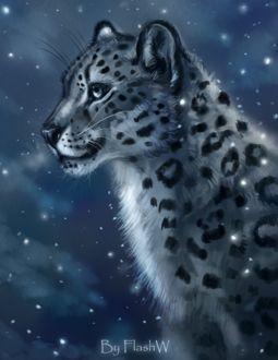 Фото Белый леопард под падающим снегом, by FlashW