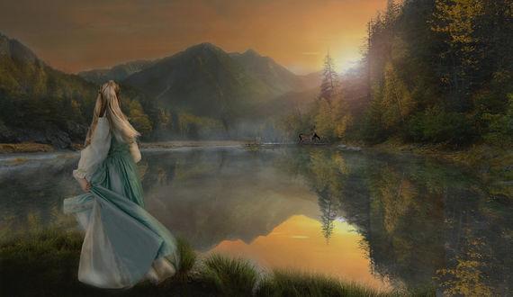 Фото Девушка любуется закатом, стоя у озера, by 006tina