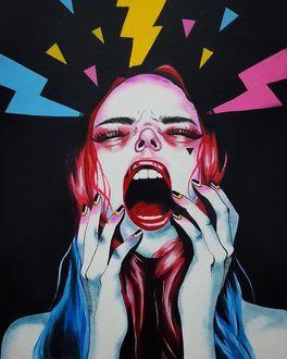 Фото Над девушкой кричащей от гнева, сверкают разноцветные молнии, by Harumi Hironaka