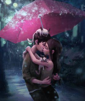 Фото Парень и девушка на которых сидят покемоны, целуются спрятавшись от дождя под раскрытым зонтиком, художник Зак Ретц / Zac Retz