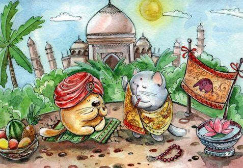 Фото Котик и кошечка среди реалий и достопримечательностей Индии, иллюстратор Кристина Крокус