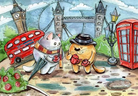 Фото Котик и кошечка среди реалий и достопримечательностей Англии, иллюстратор Кристина Крокус