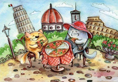 Фото Котик и кошечка среди реалий и достопримечательностей Италии, иллюстратор Кристина Крокус