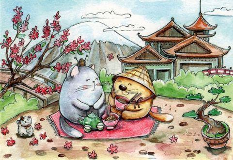 Фото Котик и кошечка среди реалий и достопримечательностей Японии, иллюстратор Кристина Крокус