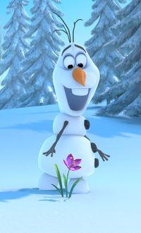 Фото Снеговик Olaf / Олаф смотрит на распустившийся подснежник, мультфильм Frozen, Disney / Холодное сердце, Дисней